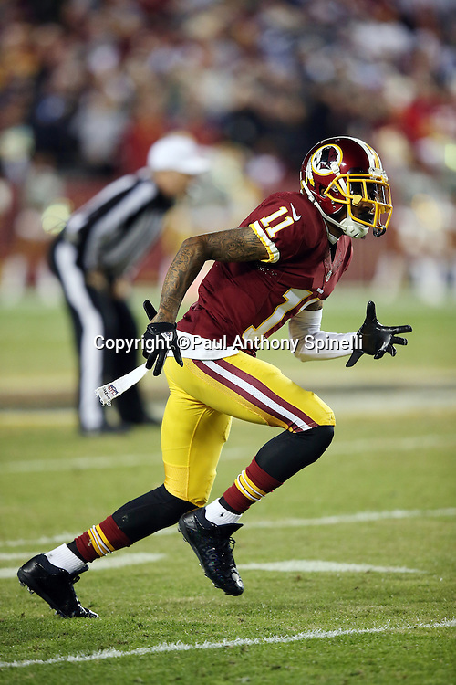 Washington Redskins wide receiver DeSean Jackson (11) goes out for a pass during the 2015 week 13 regular season NFL football game against the Dallas Cowboys on Monday, Dec. 7, 2015 in Landover, Md. The Cowboys won the game 19-16. (©Paul Anthony Spinelli)