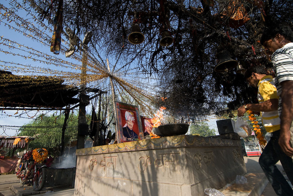 Shrine dedicated to Motorcyclist whose spirit allegedly drove his motorcycle after his death, near Pali, Rajasthan