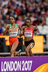 13-08-2017 IAAF World Championships Athletics day 10, London<br /> Goud voor de Keniaanse Hellen Obiri (14.34,86) en de Ethiopische Almaz Ayana (14.40,35) pakt het zilver
