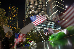 September 12, 2016 - New York, New York, USA - People come to pay their tribute to victims of the tragedy 9/11 in New York. (Credit Image: © Anna Sergeeva via ZUMA Wire)