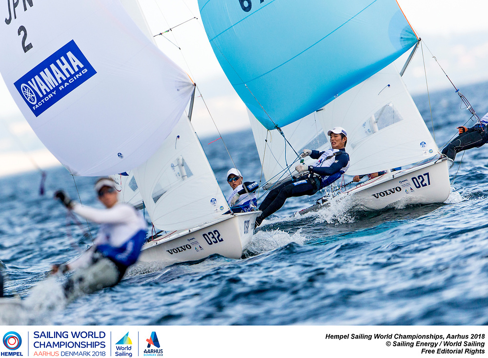 Aarhus, Denmark is hosting the 2018 Hempel Sailing World Championships from 30 July to 12 August 2018. More than 1,400 sailors from 85 nations are racing across ten Olympic sailing disciplines as well as Men's and Women's Kiteboarding. <br /> 40% of Tokyo 2020 Olympic Sailing Competition places will be awarded in Aarhus as well as 12 World Championship medals. ©PEDRO MARTINEZ/SAILING ENERGY/AARHUS 2018<br /> 08 August, 2018.