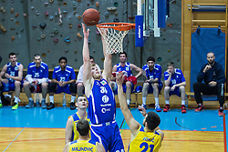 Parker Jacobs Samuel of KK Tajfun Sentjur and Miljkovic Milos & Jokic Petar of KK Sencur GGD during basketball match between KK Sencur  GGD and KK Tajfun Sentjur for Spar cup 2016, on 16th of February , 2016 in Sencur, Sencur Sports hall, Slovenia. Photo by Grega Valancic / Sportida.com