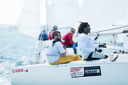 Miami - January 29, 2015.  Members of the US Paralympic Sailing Team in the Sonar fleet at the 2015 ISAF Sailing World Cup in Miami.