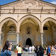 Tourists visit the Cattedrale, Palermo, Sicily, Italy