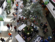 The atrium at the B. Thomas Golisano College of Computing and Information Sciences held numerous exhibits during Imagine RIT in Rochester on Saturday, May 2, 2015.