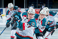 KELOWNA, CANADA - MARCH 7: Kyle Topping #24 of the Kelowna Rockets warms up with a shot on net against the Vancouver Giants  on March 7, 2018 at Prospera Place in Kelowna, British Columbia, Canada.  (Photo by Marissa Baecker/Shoot the Breeze)  *** Local Caption ***