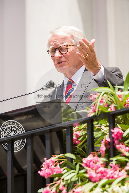 Charleston Mayor Joseph P. Riley officially opens the Spoleto Festival USA, a 17-day performing arts festival May 22, 2015 in Charleston, South Carolina. Riley opened the festival for the last time as Mayor as he will retire at the end of the year after 39-years.