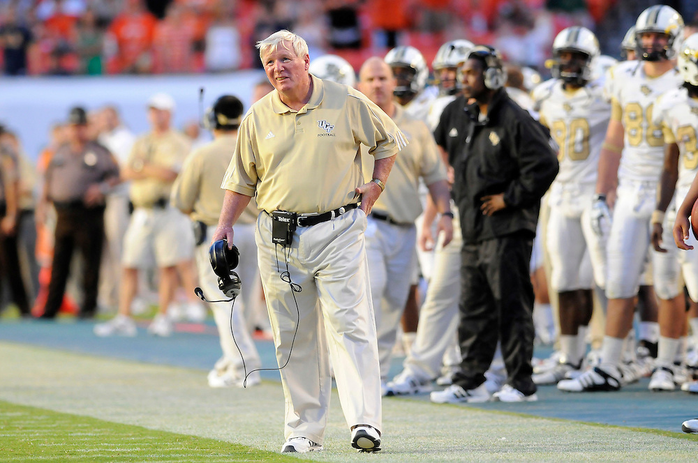 October 11, 2008 - Miami Gardens, FL<br /> <br /> University of Central Florida head coach George O'Leary looks on from the sideline during the Knights 20-14 defeat to the Miami Hurricanes at Dolphin Stadium in Miami Gardens, Florida.<br /> <br /> JC Ridley/CSM