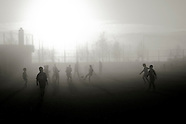 Football on a foggy morning