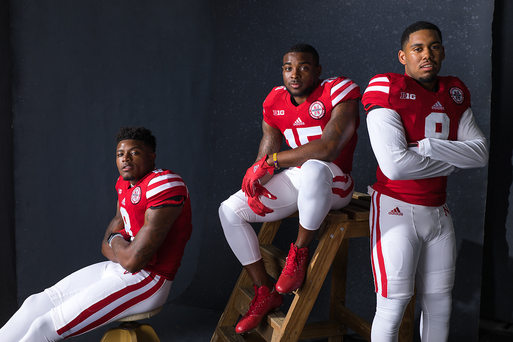 Stanley Morgan Jr. #8, De'Mornay Pierson-El #15 and Keyan Williams #9 during a portrait session at Memorial Stadium in Lincoln, Neb. on June 7, 2017. Photo by Paul Bellinger, Hail Varsity