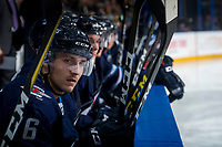 PENTICTON, CANADA - SEPTEMBER 8: Skyler McKenzie #76 of Winnipeg Jets sits on the bench against the Vancouver Canucks on September 8, 2017 at the South Okanagan Event Centre in Penticton, British Columbia, Canada.  (Photo by Marissa Baecker/Shoot the Breeze)  *** Local Caption ***