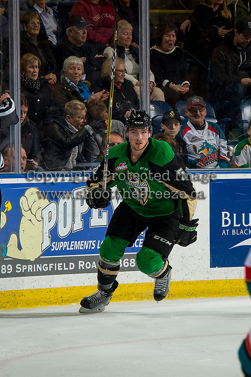 KELOWNA, BC - JANUARY 19:  Zack Hayes #5 of the Prince Albert Raiders skate with his stick it the air against the Kelowna Rockets at Prospera Place on January 19, 2019 in Kelowna, Canada. (Photo by Marissa Baecker/Getty Images)***Local Caption***