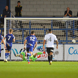 TELFORD COPYRIGHT MIKE SHERIDAN GOAL. Joe Parker of Gloucester scores to make it 4-3 during the National League North fixture between AFC Telford United and Gloucester City at the New Bucks Head Stadium on Tuesday, September 3, 2019<br /> <br /> Picture credit: Mike Sheridan<br /> <br /> MS201920-015