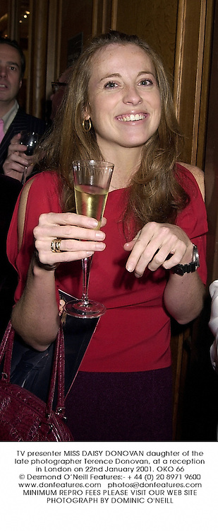 TV presenter MISS DAISY DONOVAN daughter of the late photographer Terence Donovan, at a reception in London on 22nd January 2001.OKO 66