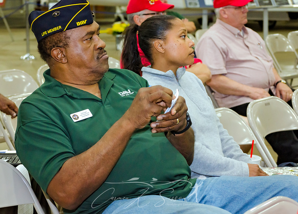 DAV Chapter #45 Commander Tom Lane and Michelle Cox, Readjustment Counseling Outreach for the U.S. Department of Veterans Affairs, listen as veterans share stories of their VA experiences during the Mobile SWS Town Hall at USS Alabama Battleship Memorial Park in Mobile, Ala., on Friday, April 3, 2017. (Photo by Carmen K. Sisson/Cloudybright)
