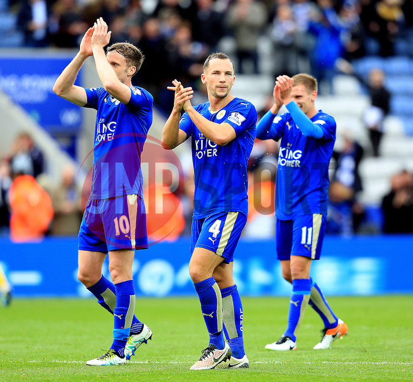 Daniel Drinkwater of Leicester City celebrates at full time - Mandatory by-line: Matt McNulty/JMP - 24/04/2016 - FOOTBALL - King Power Stadium - Leicester, England - Leicester City v Swansea City - Barclays Premier League