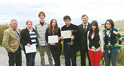 Pictured at the prize presentation for the Heinrich Boll Essay competition for secondary School students from Achill . Dr Edward King, (Heinrich Boll Committee) Stacey O' Riordan, Conor Lane, Emma Ginnelly, Eoghan Burke (1st Place) Rolf Stehle Director of Goethe- Institute Dublin, Rhian Barrett and Kelly McIntyre. The 4th Heinrich Boll memorial weekend took place in Achill last weekend.<br />