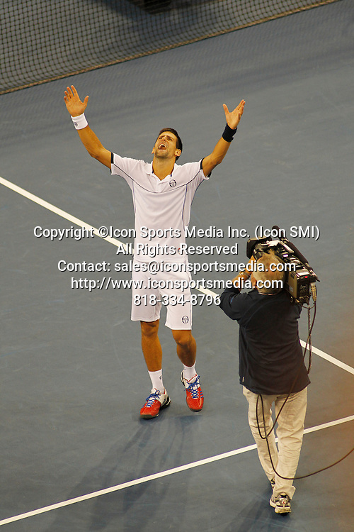 September 12, 2011:  Novak Djokovic (SRB)[1] reacts to winning the match against Rafael Nadal (ESP)[2] after their Mens Finals match at the US Open in Arthur Ashe Stadium at the Billie Jean King Tennis Center in Flushing, New York.  Novak Djokovic (SRB)[1] defeats Rafael Nadal (ESP)[2] in four sets by the score of 6-2 6-4 6-7 (3) 6-1. Novak Djokovic is the 2011 US Open Mens Champion.