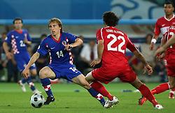 Luka Modric of Croatia vs Hamit Altintop of Turkey during the UEFA EURO 2008 Quarter-Final soccer match between Croatia and Turkey at Ernst-Happel Stadium, on June 20,2008, in Wien, Austria. Turkey won after penalty shots. (Photo by Vid Ponikvar / Sportal Images)