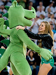 Official mascot of Union Olimpija dragon dancing with Dragon Ladies cheerleader during basketball match between KK Union Olimpija (SLO) and Power E. Valencia (SPA) in Group D of Turkish Airlines Euroleague, on November 17, 2010 in Arena Stozice, Ljubljana, Slovenia. (Photo By Matic Klansek Velej / Sportida.com)