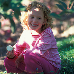 Bolton, MA. USA. A girl eats an apple under an apple tree at the Nicewicz Farm in Massachusetts' Nashoba Valley.  Apple orchard. Macintosh apples.