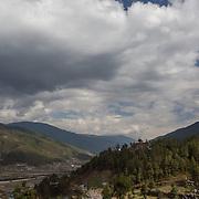View of the Jakar Dzong and the Jakar Valley, Bumthang District, Bhutan