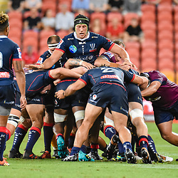 Adam Coleman of Melbourne Rebels controls a maul during the Super Rugby Round 7 match between Queensland Reds and Melbourne Rebels at Suncorp Stadium on March 30, 2019 in Brisbane, Queensland, Australia. (Photo by Stephen Tremain)