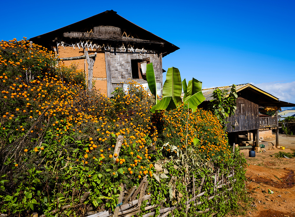 KYAING TONG, MYANMAR - CIRCA DECEMBER 2017:  Village in the area of Kyaing Tong in Myanmar