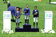 Rene LOPEZ (COL) riding DESTINY'S CHILD (winner), Harold BOISSET (FRA) riding VAKHENATON (2nd place) and Steve GUERDAT (SUI) riding VENARD DE CERISY (3rd place) during the Derby Region Pays de la Loire Competition of the International Show Jumping of La Baule 2018 (Jumping International de la Baule), on May 19, 2018 in La Baule, France - Photo Christophe Bricot / ProSportsImages / DPPI