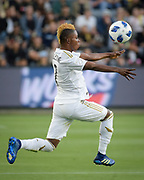 Los Angeles FC forward Latif Blessing (7) receives the ball against New York City during a MLS soccer match in Los Angeles, Sunday, May 13, 2018. The game ended in a 2-2 tie. (Ed Ruvalcaba/Image of Sport)