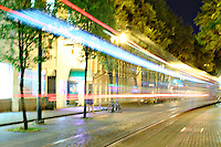 TriMet: MAX Light Rail Service at night by Pioneer Courthouse Square in Portland, OR