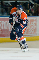 KELOWNA, CANADA, JANUARY 25: Chase Schaber #10 of the Kamloops Blazers skates with the puck as the Kamloops Blazers visit the Kelowna Rockets on January 25, 2012 at Prospera Place in Kelowna, British Columbia, Canada (Photo by Marissa Baecker/Getty Images) *** Local Caption ***