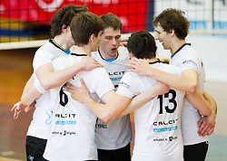 Players of Calcit Kamnik celebrate during volleyball match between Calcit Volleyball and ACH Volley in 4th Final Round of Radenska Classic League 2012/13 on April 16, 2013 in Arena Kamnik, Slovenia. (Photo By Vid Ponikvar / Sportida)