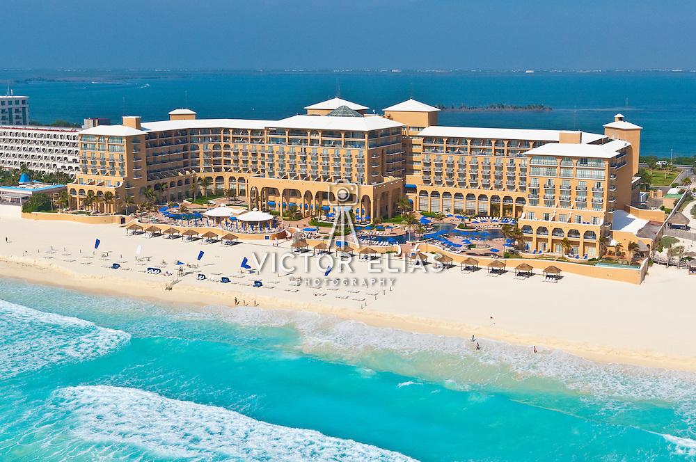 Aerial view of The Ritz Carlton hotel Cancun. Quintana Roo, Mexico.