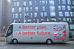 © Licensed to London News Pictures .31/03/2015 . Manchester , UK . The Labour Party election battle bus at the start of his campaign to be the next British Prime Minister . Photo credit : Joel Goodman/LNP