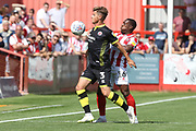 Josh Doherty and Alex Addai during the EFL Sky Bet League 2 match between Cheltenham Town and Crawley Town at LCI Rail Stadium, Cheltenham, England on 4 August 2018. Picture by Antony Thompson.