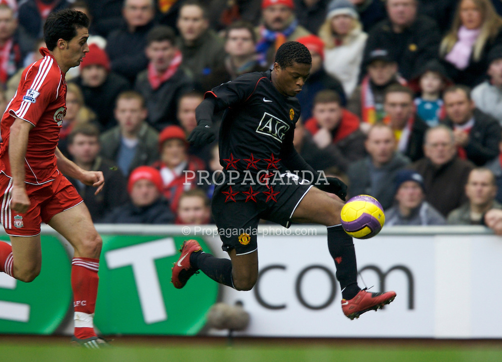 LIVERPOOL, ENGLAND - Sunday, December 16, 2007: Manchester United's Patrice Evra in action against Liverpool during the Premiership match at Anfield. (Photo by David Rawcliffe/Propaganda)