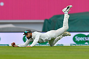 Virat Kohli (captain) of India almost pulls off a spectacular catch to dismiss Alastair Cook of England but he drops it as he hits the ground during day 3 of the 5th test match of the International Test Match 2018 match between England and India at the Oval, London, United Kingdom on 9 September 2018.