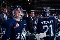 KELOWNA, CANADA - JANUARY 5: Seattle Thunderbirds' head coach Matt O'Dette stands on the bench during a time out against the Kelowna Rockets on January 5, 2017 at Prospera Place in Kelowna, British Columbia, Canada.  (Photo by Marissa Baecker/Shoot the Breeze)  *** Local Caption ***