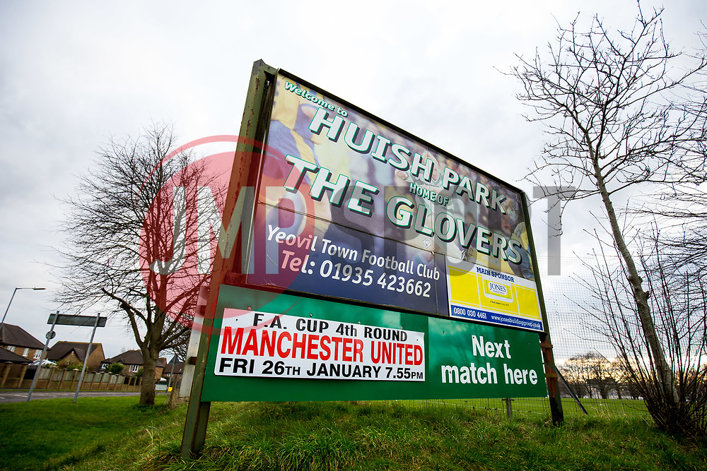 Sign outside Huish Park advertising Manchester United's visit  - Rogan/JMP - 26/01/2018 - FOOTBALL - Huish Park - Yeovil, England - Yeovil Town v Manchester United - FA Cup Fourth Round.