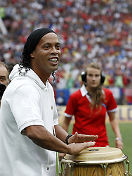 Brazilian former footballer Ronaldinho and World Cup winner 2002 performs during the closing ceremony prior during the 2018 FIFA World Cup Russia Final match between France and Croatia at the Luzhniki Stadium on July 15, 2018 in Moscow, Russia