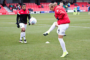 Salford City defender Oscar Threlkeld warming up before the EFL Sky Bet League 2 match between Salford City and Macclesfield Town at the Peninsula Stadium, Salford, United Kingdom on 23 November 2019.