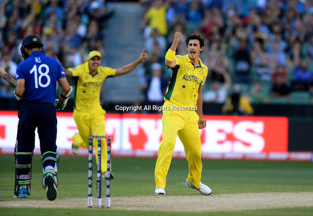 Mitchell Marsh (AUS) celebrates the wicket of Moeen Ali (ENG)<br /> Australia vs England / Match 2<br /> 2015 ICC Cricket World Cup / Pool A<br /> MCG / Melbourne Cricket Ground <br /> Melbourne Victoria Australia<br /> Saturday 14 February 2015<br /> &copy; Sport the library / Jeff Crow