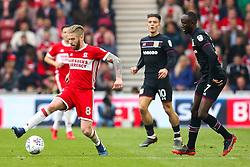 Adam Clayton of Middlesbrough takes on Albert Adomah of Aston Villa - Mandatory by-line: Robbie Stephenson/JMP - 12/05/2018 - FOOTBALL - Riverside Stadium - Middlesbrough, England - Middlesbrough v Aston Villa - Sky Bet Championship