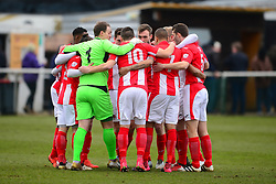BRACKLEY TOWN HUDDLE BEFORE KICK OFF, Brackley Town v Wealdstone FA Trophy Semi Final First Leg, St James Park Saturday 17th March 2018. Score 1-0 (Alex Gudger)