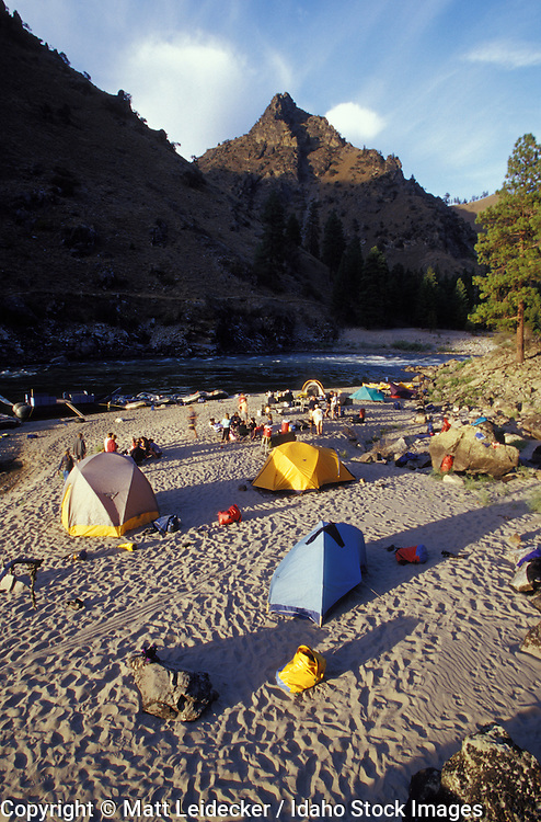 Idaho, main Salmon River.  Sunny afternoon. Tents beside Horse Creek.
