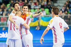 Spain players celebrate during futsal match between Spain and Portugal in Final match of UEFA Futsal EURO 2018, on February 10, 2018 in Arena Stozice, Ljubljana, Slovenia. Photo by Ziga Zupan / Sportida