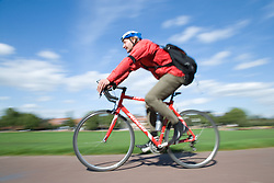 Man cycling on the park,