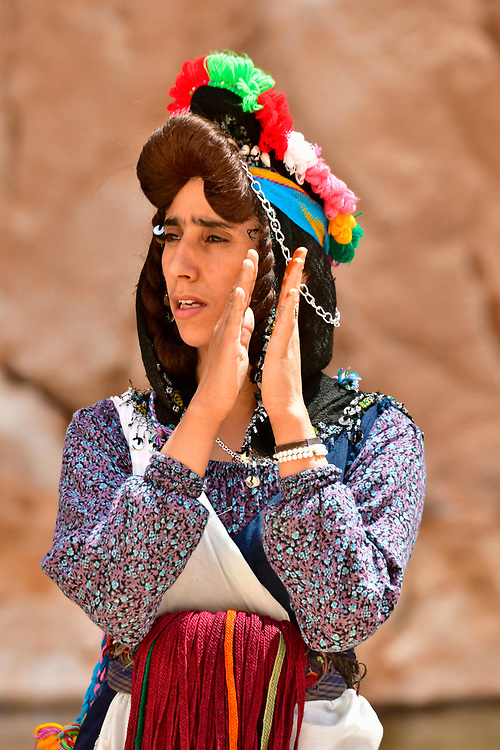 North Africa, Africa, African, Morocco, Moroccan, singing Berber performer in the Todra gorge