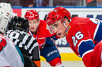 KELOWNA, BC - MARCH 13: Jack Finley #26 of the Spokane Chiefs lines up for the face-off against the Kelowna Rockets at Prospera Place on March 13, 2019 in Kelowna, Canada. (Photo by Marissa Baecker/Getty Images)